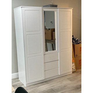 Cosmo Solid Wood 3-door Wardrobe with Mirror by Palace Imports