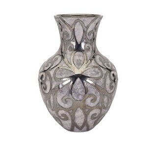 IMAX Home 95200  Rowena Large Ceramic Vase - Silver