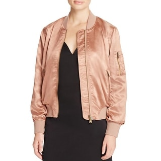 Cotton Candy Womens Jacket Satin Ribbed Knit Trim - m