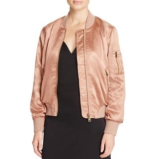 Cotton Candy Womens Jacket Satin Ribbed Knit Trim