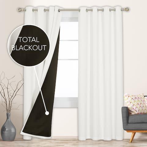 Deconovo 100 Percent Blackout with Liner Grommet Curtain Panel Pair