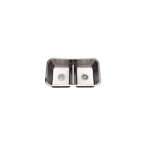 """Mirabelle MIRURB3219 32"""" Double Basin Stainless Steel Kitchen Sink with 50/50 Split - Undermount Installation -"""