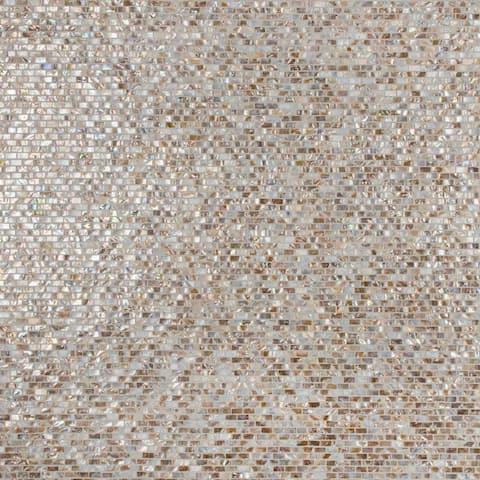 "SomerTile Conchella Subway Perla 11.75"" x 11.75"" Natural Seashell Mosaic Tile"