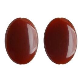 Agate Natural Gemsone, Puff Ovals 22x30mm, 2 Pieces, Red Orange