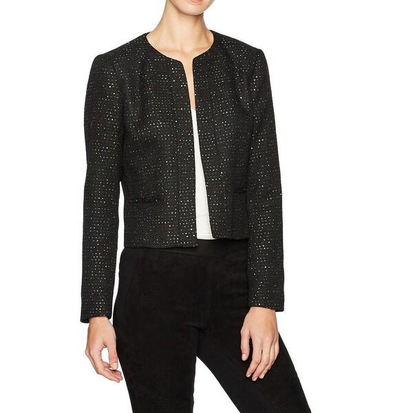 Nine West Black Womens Size 14 Open-Front Sequin Tweed Jacket