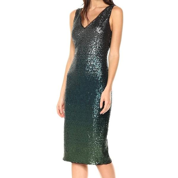 175da7c28e1 Shop Rachel Rachel Roy Emerald Green Ombre Sequin 4 V-Neck Sheath ...