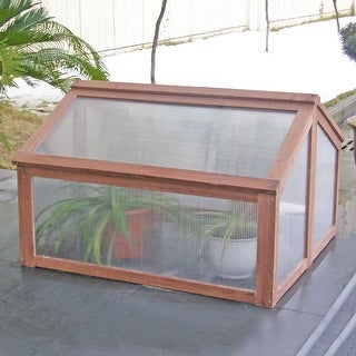 Costway Double Box Garden Wooden Green House Cold Frame Raised Plants Bed Protection - as pic