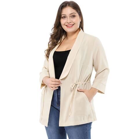 Women's Plus Size Work Open Front Drawstring Lightweight Jacket - Beige