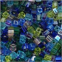 Miyuki 4mm Glass Cube Beads Color Mix Gemtones 10 Grams