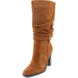 Donald J Pliner Odessa Women Round Toe Suede Brown Mid Calf Boot