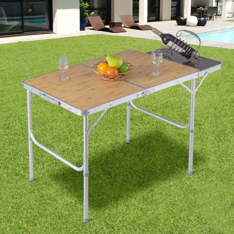 Costway Aluminum Folding Picnic Camping Table Lightweight Indoor Outdoor Garden Party