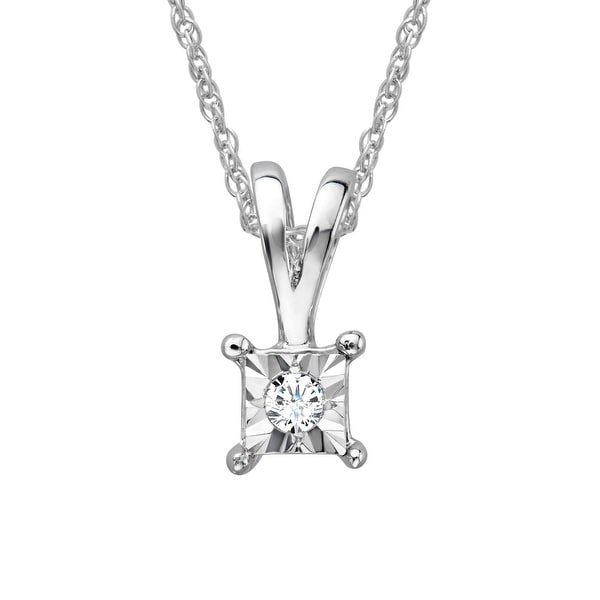 Solitaire Pendant with Diamond in Sterling Silver