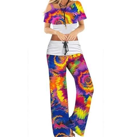Tie-Dye Print Wide Leg Pants Suits