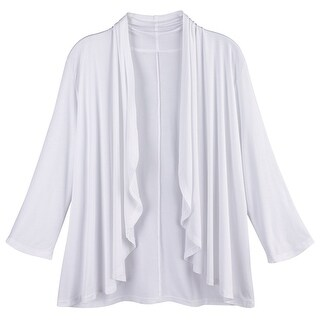 Kaktus Sportswear Women's Open Front Cardigan - White Drape Layering Sweater (2 options available)