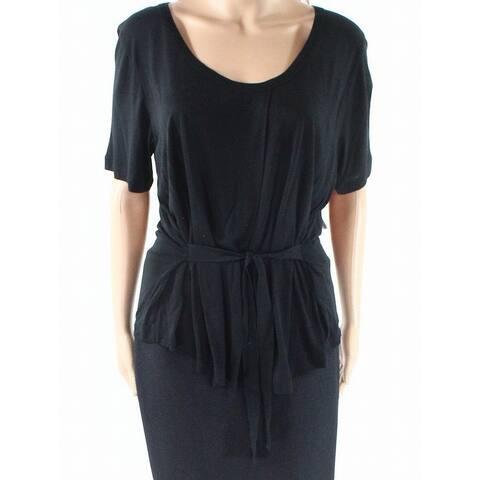 J. Crew Women's Knit Top Solid Black Size XS Scoop Neck Short Sleeve