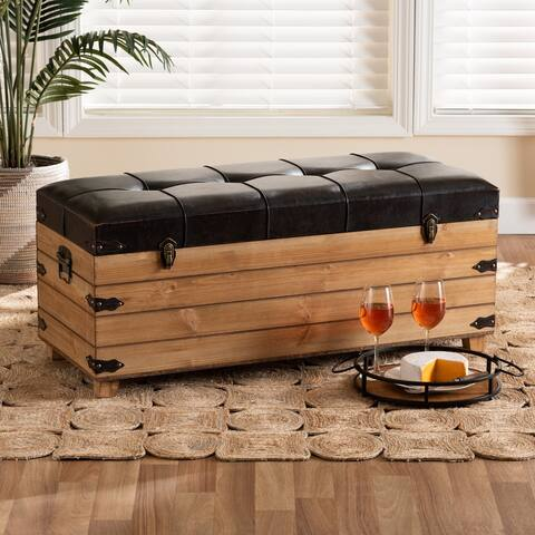 Edmund Rustic Brown Faux Leather Upholstered Wood Storage Ottoman