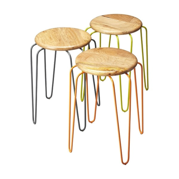 Transitional Wood and Iron Round Stackable Stool - Multicolor