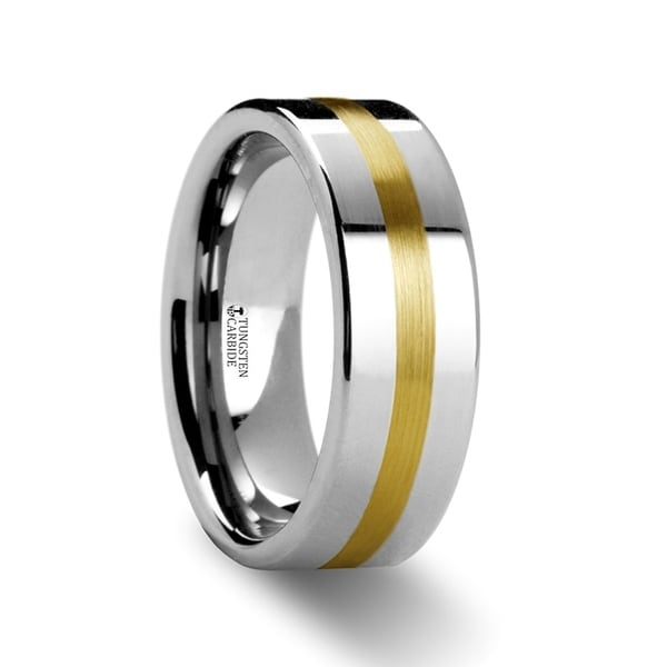 THORSTEN - HARRISBURG Gold Inlaid Flat Tungsten Ring - 6mm
