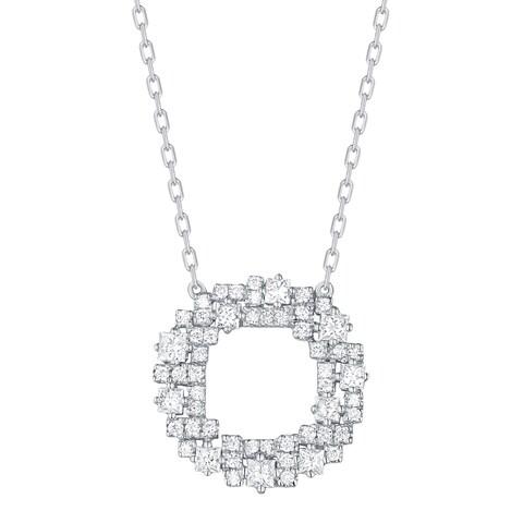 Prism Jewel 0.49Ct G-H/SI1 & I1 Round & Princess Natural Diamond Open Circle Necklace