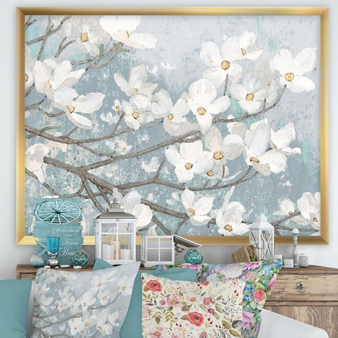 Designart 'Blue on Grey Blossoms' Traditional Framed Art Print