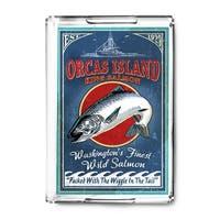 Orcas Island WA - Salmon Vintage Sign - LP Artwork (Acrylic Serving Tray)