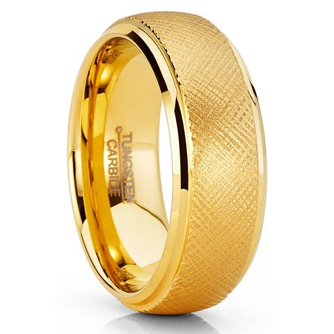 Oliveti Mens Tungsten Ring Goldtone Wedding Band Dome Textured 8MM