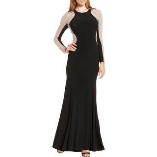 Xscape Womens Petites Evening Dress Studded Long Sleeves