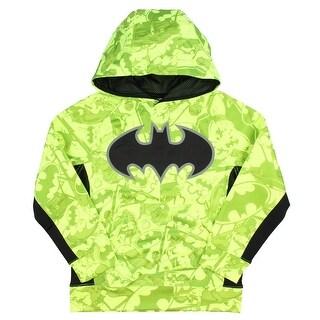 DC Comics Dark Knight Batman All Over Pullover Boys' Hoodie Neon Yellow
