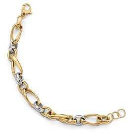 Italian 14k Two-Tone Gold Polished Fancy Link Bracelet - 8.5 inches