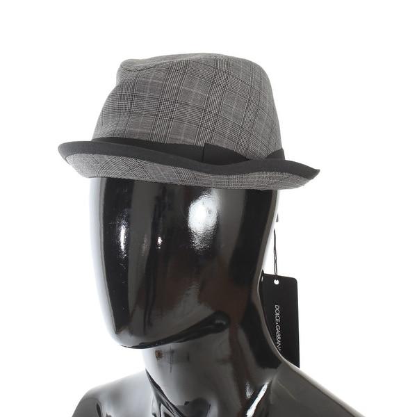 d70061ec97a82 Dolce  amp  Gabbana Dolce  amp  Gabbana Gray Black Check Virgin Wool Trilby  Hat -