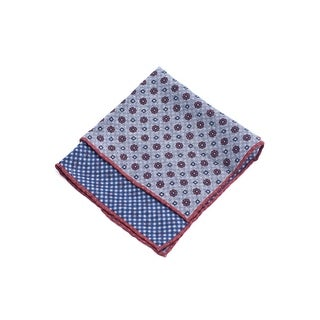 Brunello Cucinelli Men Gray&Red Patterned Wool Pocket Square