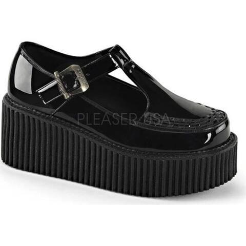 Demonia Women's Creeper 214 T Strap Black Patent/Black