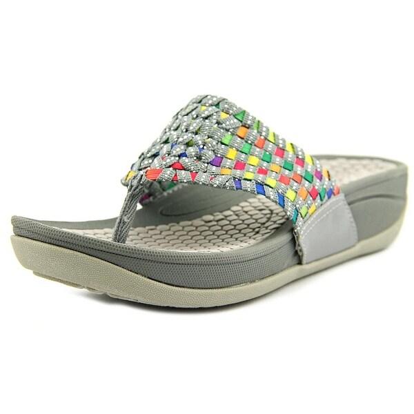 Baretraps Denna Women Open Toe Canvas Gray Slides Sandal