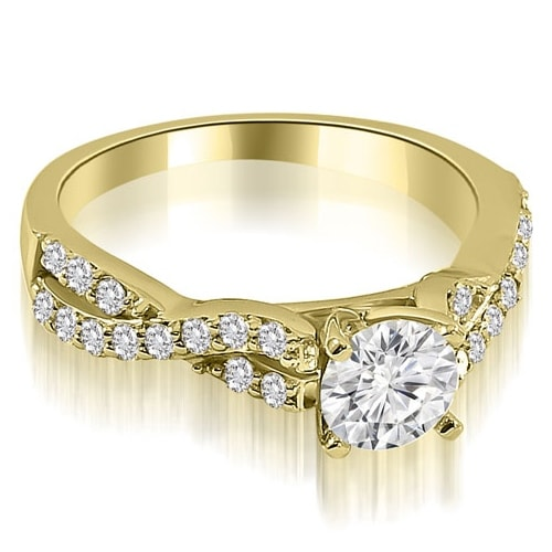 1.15 cttw. 14K Yellow Gold Twisted Split Shank Round Cut Diamond Engagement Ring