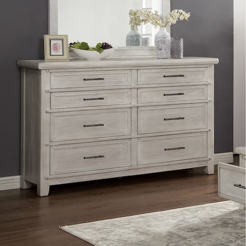 Furniture of America Tiwo Transitional White Solid Wood Dresser