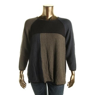 Nic + Zoe Womens Plus Side Zippers Colorblock Pullover Sweater - 1X