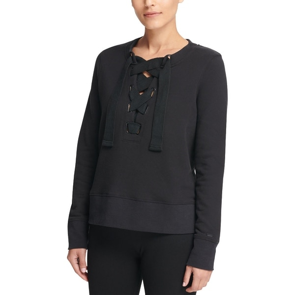 DKNY Womens Lace-Up Sweatshirt