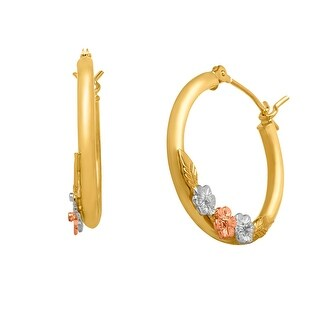 Just Gold Floral Garland Hoop Earrings in 14K Tri-Colored Gold (20mm Diameter) - three-tone