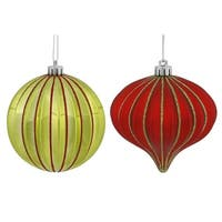 "9ct Lime Green & Red Glitter Striped Shatterproof Onion and Ball Christmas Ornaments 4"" (100mm)"