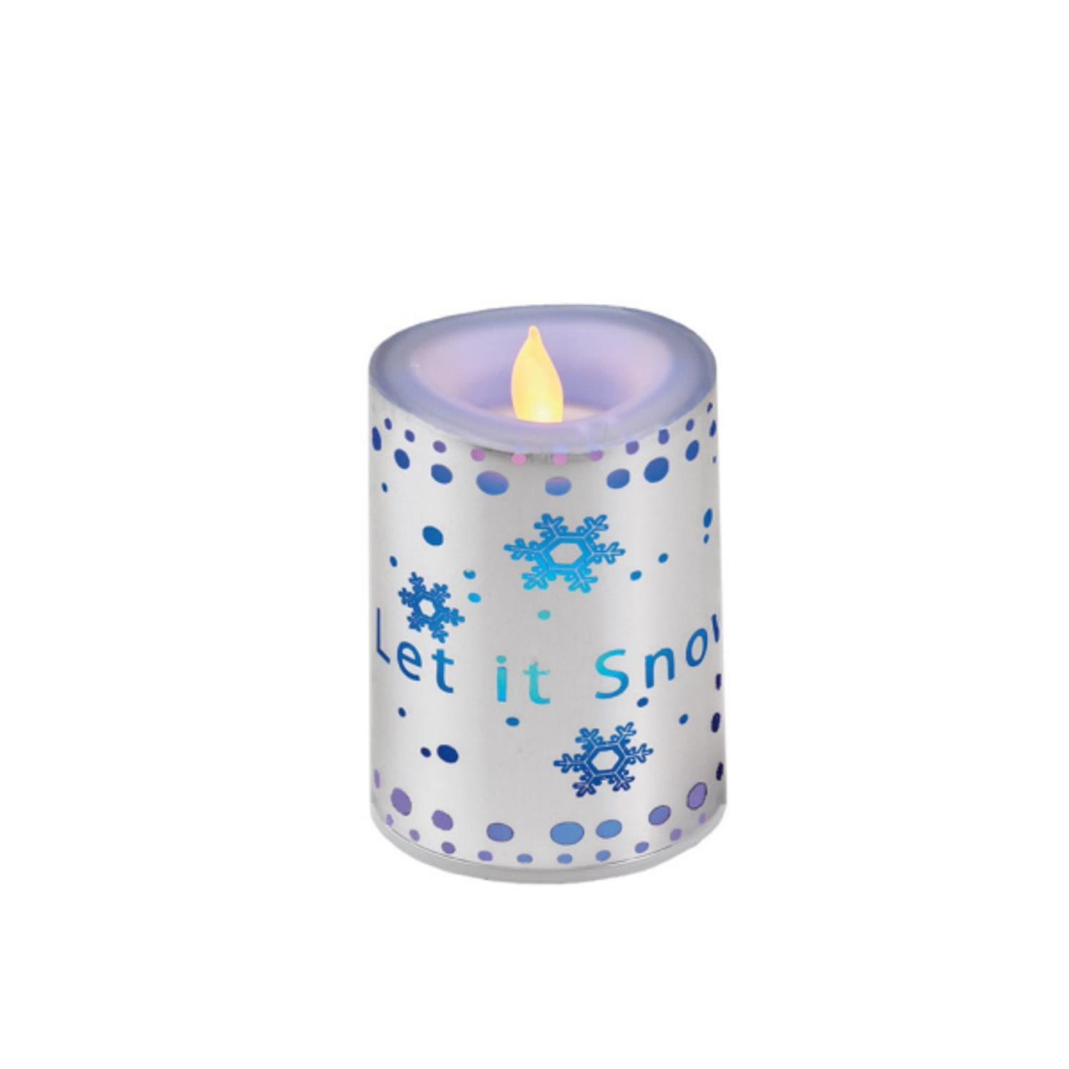 4 Silver Colored Let It Snow Flameless Candle With Flickering Led Lights Overstock 16544883
