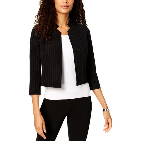 Kasper Womens Petites Jacket Crop Pinstripe - 14P