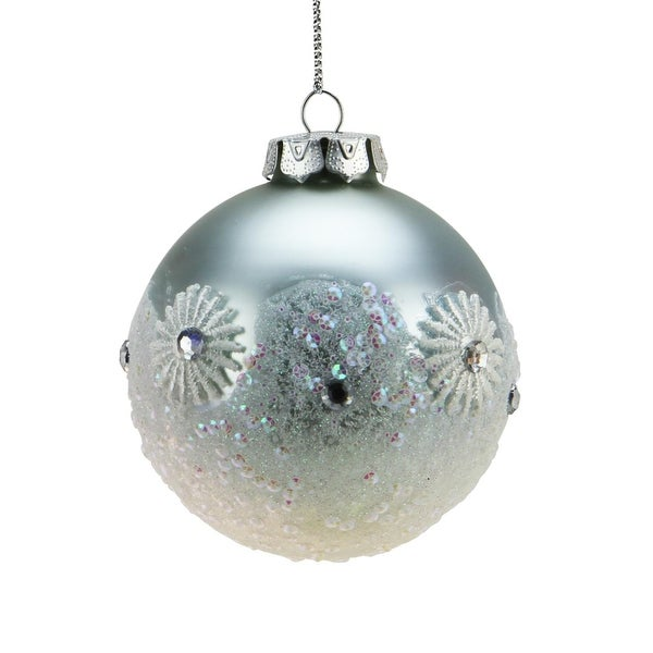 "Ice Palace Matte Light Pink with Glitter Drenched Snowflake Top Glass Christmas Ball Ornament 3"" (75mm)"