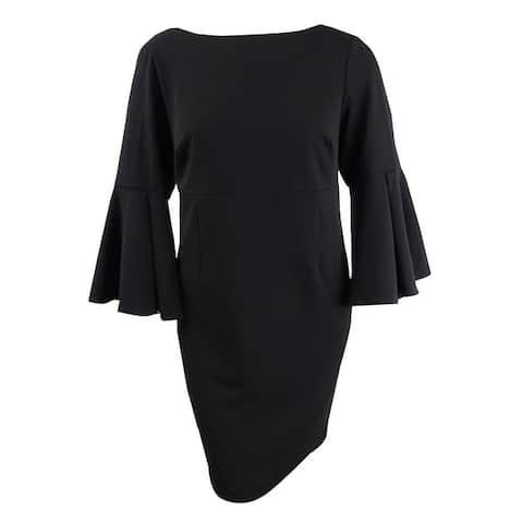 Betsey Johnson Women's Plus Size Bell-Sleeve Sheath Dress - Black