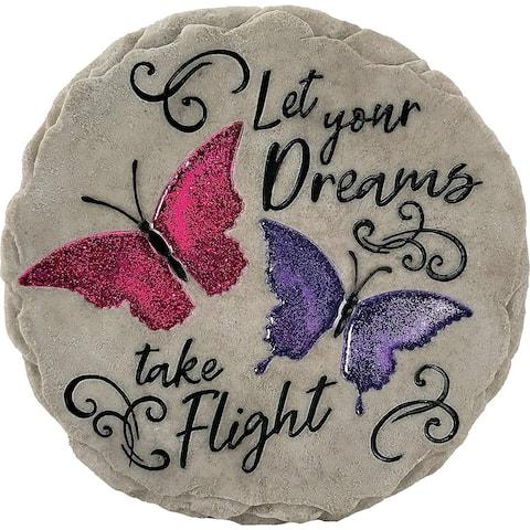 Set of 2 Let Your Dreams Decorative Garden Stones