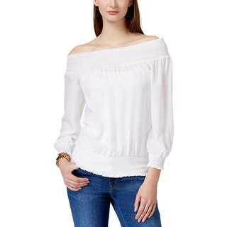 MICHAEL Michael Kors Womens Blouse Ruched Long Sleeves
