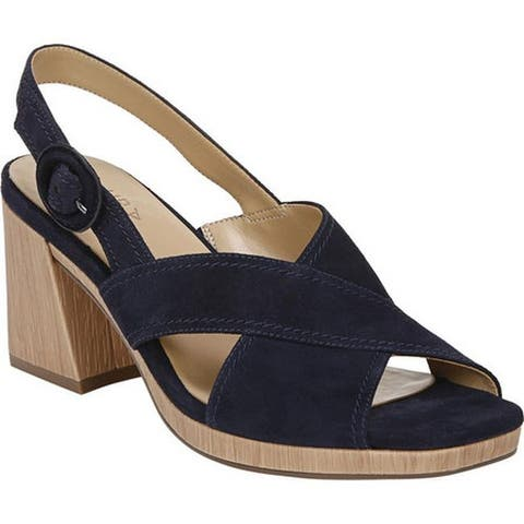 Naturalizer Women's Renly Heeled Slingback French Navy Suede