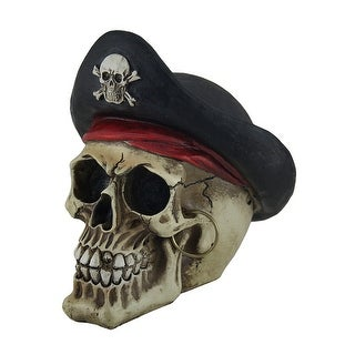 Bony Buccaneer Weathered Finish Pirate Skull Statue - 6.5 X 6.5 X 5 inches
