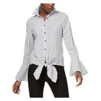 ECI Womens Button-Down Top Striped Bell Sleeves