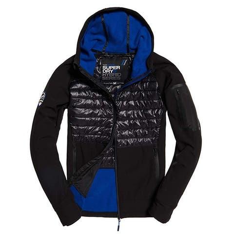 Superdry Mens Jacket Blue Black Size Small S Hooded Hybrid Full-Zip