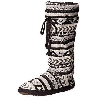 Muk Luks Womens Fleece Lined Mid-Calf Bootie Slippers